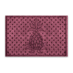 Balsam Hill - Balsam Hill® StormGuard Doormat - Bordeaux Welcome Pineapple - 2' x 3' - The Balsam Hill Welcome Pineapple pattern StormGuard� floor mat keeps your entryways spotless and clean, even in the harshest of weather. Made out of premium synthetic fiber, this tough but elegant floor mat traps moisture, dirt, and dust while resisting everyday wear and tear, mold, and mildew. Our heavy-duty floor mat is able to retain its attractive appearance for many years and it also boasts an absorbency rate of over one gallon per square yard. Fits standard doorways, comes in the color Bordeaux. Free shipping when you buy today!