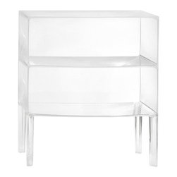 Kartell - Ghost Buster Storage Unit - Display your collection of rare books, antique perfume jars or vinyl albums in this transparent table. Perfect for when you need storage space, but you also want people to see what you're storing.