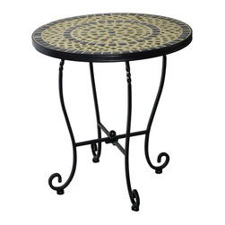 Alfresco Home - Alfresco Home Shannon Outdoor Side Table - 28-1172 - Shop for Tables from Hayneedle.com! We re mad about the mosaic pattern on the Alfresco Home Shannon Outdoor Side Table and you will be too. Multi-toned green ceramic tiles create a pretty pattern that s sure to dress up your patio whether you use this table as a perch for a glass of lemonade or a favorite potted plant.Plus the slender frame is built tough from iron with a weather-resistant powder-coat in a charcoal finish. Scrolled feet add an antique-inspired flair and because this side table is hand-crafted slight variations may occur. Order one or order several - however many you need for your space indoors or out.About Alfresco HomeOffering a wide selection of fashionable products from casual furniture and garden lighting to permanent botanicals and seasonal decor Alfresco Home casual living products offer a complete line of interior and exterior living furnishings and accents. Based out of King of Prussia Penn. Alfresco Home continues to blend indoor and outdoor furniture to create a lifestyle of alfresco living inside and outside of the home. Inlaid mosaic tabletops fine hardwood furnishings artisan-inspired accents premium silk botanicals and all-weather wicker sets are just a few examples of the kind of treasures you'll find in Alfresco's specially designed collections.
