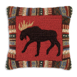 Chandler 4 Corners - Cinnamon Moose Hooked Pillow - Rustic reverie, rich textures and outdoor-inspired details define our Cabin Fever Pillow Collection.