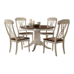 "Acme - 5-Piece Dylan Buttermilk and Oak Finish Wood Round Dining Table Set - 5-Piece Dylan buttermilk and oak finish wood round pedestal dining table set with wood top seats. This set includes the table and 4 side chairs. Table features a buttermilk and oak finish wood with pedestal. Table measures 42"" Dia. Chairs measure 41"" H to the back. Some assembly required."
