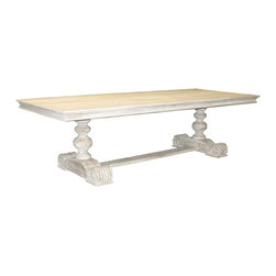 Reclaimed Lumber 2-Pedestal Dining Table, Carved - I've always dreamed about gathering around a huge reclaimed wooden table like this one for the holidays.