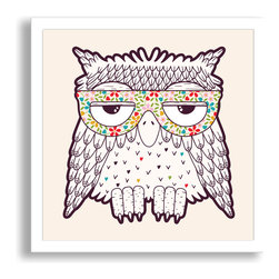 Gallery Direct - Owl in Funky Glasses Framed Paper Art - This framed paper print comes ready to hang with a modern 7/8 inch frame. The sleek frame makes for an extremely versatile design solution. There is glass over the face of the print, so hang out of reach of little hands!