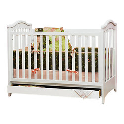 AFG Baby - AFG Baby Jeanie Convertible Crib with Drawer in White - The traditional Jeanie classic crib has been updated with additional conversions and features missionary cues on a classic crib that has all stationary panels designed with safety in mind. An attached drawer below the crib allows for linens to be stowed away until needed. 3-level mattress height adjustment and a toddler guard rail are included.