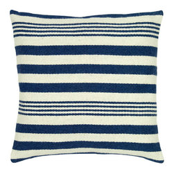 Rizzy Rugs - Navy 24 x 24-Inch Pillow with Hidden Zipper - - Construction: Woven Wool of color.  - Care and Cleaning: Dry Clean Only. Rizzy Rugs - T05453