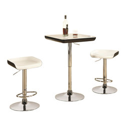 Coaster - Coaster 3 Piece Adjustable Bar Table and Stool Set - Coaster - Pub Sets - 122100 - About This Product: