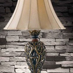 Kenroy - Kenroy 20180GR Iron Lace Traditional Table Lamp - Sculptured traditional silhouettes with an attention to detail deliver remarkable rewards.  The Iron Lace family brings a fresh twist to classical elements with luminous aged warm finishes and metallic highlighted scrolls.