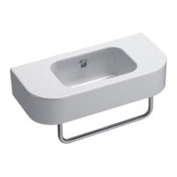 GSI - Sleek White Ceramic Wall Mounted Bathroom Sink, No Faucet Holes - This beautiful and simple curved rectangular wall mounted bathroom sink is made in Italy by GSI. It is made of high quality ceramic with a white finish. Sink includes overflow and has option for no faucet holes or one hole (left or right side).