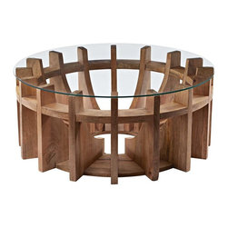 Lazy Susan - Lazy Susan Wooden Sundial Coffee Table - Inspired By A Sundial In The Gardens Of An Estate The Sundial Coffee Table Is Formed From Solid Mango Wood And Finished With A Clear Glass Top.