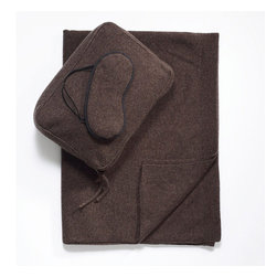 Frontgate - Cashmere Jersey Travel Set - The collection fits neatly into a cashmere zippered bag that serves as a travel pillow or pillowcase. Knit in 100% premium 12-gauge cashmere. Two-ply Mongolian cashmere provides unmatched softness and comfortable, year-round warmth. Offers lightweight warmth without the bulk. Dry clean. Make travel feel luxurious again with our Heather Brown Cashmere Travel Set. Sized to fit in your carry-on, it contains what you need for comfort on a plane or train, or in a car: a soft throw to ward off the chill and a soothing eye mask to block harsh light..  . .  .  . Imported .