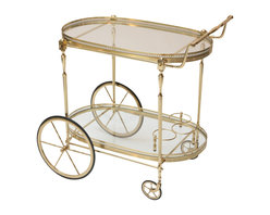Vintage Mid-Century Glass and Brass Bar Cart - The HighBoy, Atelier 1505