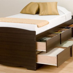 Prepac - 41 in. Twin Storage Platform Bed - Suitable for twin-sized mattresses. Six drawers with sides glide on metal runners with built-in safety stops. Finger pulls at the bottom of each drawer front for easy opening. Weight capacity: 250 lbs.. Warranty: Five years. Made from CARB-compliant, laminated composite woods. Espresso finish. Made in North America. Drawer: 21.5 in. W x 18 in. D x 5 in. H. Overall: 76.5 in. L x 41 in. W x 27 in. HImagine how much more storage space youd have with the Tall Twin Captains Platform Storage Bed with 6 Drawers. This captains bed is perfect for bedrooms where space is at a premium. With six drawers that can be installed on either side of the bed, youll actually gain space while storing clothing, linens and more! You wont need a box spring, either: the slat support system needs nothing more than your mattress. So get rid of space-stealers and get this space-saving solution. Wood slats positioned length-wise distribute body weight evenly to ensure a good nights sleep.