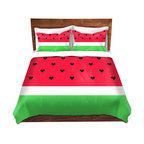 DiaNoche Designs - Duvet Cover Twill by Organic Saturation - I Love Watermelon - Lightweight and soft brushed twill Duvet Cover sizes Twin, Queen, King.  SHAMS NOT INCLUDED.  This duvet is designed to wash upon arrival for maximum softness.   Each duvet starts by looming the fabric and cutting to the size ordered.  The Image is printed and your Duvet Cover is meticulously sewn together with ties in each corner and a concealed zip closure.  All in the USA!!  Poly top with a Cotton Poly underside.  Dye Sublimation printing permanently adheres the ink to the material for long life and durability. Printed top, cream colored bottom, Machine Washable, Product may vary slightly from image.