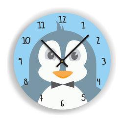 "Nursery Code - Nursery Wall Clock - PENGUIN Illustration - Kids Room Clock, Blue, 11"" Diameter - Nursery Wall Clock, Penguin- Boys room decor."