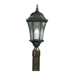 Illumine Outdoor Lighting. 1-Light Outdoor Oil Rubbed Bronze Post Head with Fros