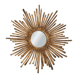 Midwest CBK Sunburst Golden Metal Ribbon Mirror - Everyone could use a peek in the mirror now and then. The metal spires on this one are striking.