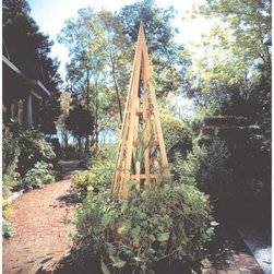 Rustic Natural Cedar Furniture Garden Obelisk - For those who cultivate the beauty of nature why not enhance your efforts with this dramatic obelisk? This beautiful cedar garden obelisk features aluminum fasteners and is reinforced with permanent waterproof adhesive for durability and strength. It is sure to add natural elegance to any garden or yard setting. Crafted of aromatic cedar wood this piece is resistant to rot and insect damage. It complements greenery in an unexpected and beautiful way.Cedar is a mild insect repellent and therefore is naturally resistant to decay and insect damage. The color changes evenly over time to a wonderful silvery gray. Water-based or oil stains will delay the weathering process. All Rustic Natural Cedar items may be used indoors or out and may be painted or stained as desired. (Some assembly required.) About Rustic Natural Cedar Furniture Co.Rustic Natural Cedar Furniture Company has been manufacturing quality cedar products for your home and garden for over 30 years. Their broad variety of products include bedroom sets tables and seating groups gliders rockers swings arbors and more. Their fine furnishings are handcrafted in Quebec and British Columbia then shipped worldwide for your enjoyment. The Rustic Natural brand is their promise. When you see this brand you know you're getting superior quality and the strength of natural cedar. Nothing equals the sturdy construction and sanded finish of their quality products. Long-lasting good looks and low maintenance makes cedar the natural choice for your home and garden. Thanks to its added benefits of beauty and comfort cedar is an ideal choice for any setting.