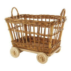 Eco Displayware - Large Rolling Mini Rattan Basket Cart in Natu - Great for closet, bath, pantry, office or toy and game storage. Earth friendly. 20 in. L x 15 in. W x 17.5 in. H (19.09 lbs.)These natural colored baskets add warmth and charm and keep you organized.