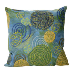 "Trans-Ocean - Graffiti Swirl Blue Pillow - 20"" SQ - The highly detailed painterly effect is achieved by Liora Mannes patented Lamontage process which combines hand crafted art with cutting edge technology.These pillows are made with 100% polyester microfiber for an extra soft hand, and a 100% Polyester Insert.Liora Manne's pillows are suitable for Indoors or Outdoors, are antimicrobial, have a removable cover with a zipper closure for easy-care, and are handwashable."