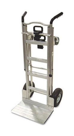 """Cosco Home and Office - 3-in-1 Convertible Truck, 1000lb Capacity, 20-1/2w x 21-1/4d x 47-4/5h, Aluminum - This hand truck has an easy one-hand conversion for 3 different uses tool free in just seconds. Use as two wheel hand truck or convert to assisted hand truck or four wheel hand cart for heavy-duty loads. Perfect for transporting supplies or equipment in any commercial environment. Features include lightweight commercial-grade aluminum frame, wheel guards that protect cargo from contacting the wheels and a center cross bar which keeps load from falling during transport. Also features flat free foam tires. Features: -Color(s): Aluminum. -Material(s): Aluminum. -Warranty: 5 Years. -Capacity (text): 2-Wheel capacity: 800 lbs, 4-Wheel capacity: 1000 lbs. Dimensions: -Folded: 47.08"""" H x 20.5"""" W x 21.25"""" D. -Toe plate: 19"""" W x 10.05"""" D. -Overall: 36.61"""" H x 20.67"""" W x 46.46"""" D, 36 lbs."""