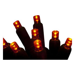 """Seasonal Source - 70 5MM Orange LED Holiday Lights, 4"""" Spacing - Our best value professional 5MM LED strand is available with a standard plug end, one piece construction, and energy star rated!"""