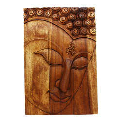 Kammika - Buddha Panel Ushnisha Sust Wood 20 x 30 inch Ht w Livos Eco Friendly Walnut Oil - This inspiring Buddha Panel Ushnisha 20 inch length x 30 inch height x approximately 4 inch thickness, including the approximately 2 inch protruding nose, Sustainable Monkey Pod Wood in Eco Friendly, Natural Livos Walnut Oil Finish Wall Panel presents Ushnisha, a three dimensional oval at the top of the head of the Buddha. It symbolizes his wisdom and openness as an enlightened being. The first representations of the Buddha in the 1st century represent him with a topknot, rather than a cranial knob. Discover the effect of Buddha in the stage of achieving knowledge, Ushnisha, when you display this panel. This panel has been carved from joined panels. The panel has two embedded flush mount Keyhole hangers on the topmost securing crossbar on the back for a protruding screw from your wall. All are carved by craftspeople in Thailand, who spend hours shaping and finishing these wonders of wood. Made of Monkey Pod wood grown for the woodcarving industry, each piece is a unique creation. Livos Walnut tone oil creates a water resistant and food safe matte finish; the natural oils are translucent, so the wood grain detail is highlighted. Color ranges from medium to dark Walnut tones that will darken as the wood ages. Crafted from sustainable wood; we make minimal use of electric hand sanders in the finishing process. Panels are dried in solar or propane kilns. No chemicals are used in the process, ever. After each piece is carved, dried, sanded, and rubbed with Livos oil, they are packaged with cartons from recycled cardboard with no plastic or other fillers. The color and grain of your piece of Nature will be unique, and may include small checks or cracks that occur when the wood is dried. Sizes are approximate. Products could have visible marks from tools used, patches from small repairs, knot holes, natural inclusions or holes. There may be various separations or cracks on your piece when it arrives. There may be some slight variation in size, color, texture, and finish.Only listed product included.