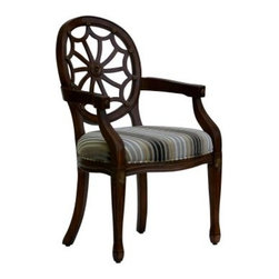 Roxbury Spider Back Arm Chair - If you're missing conversation-worthy furniture try the Roxbury Spider Back Arm Chair. A unique webbed back features hand-carved embellishments sure to attract admirers. The pattern in chenille fabric consists of pewter dark blue cream and gold stripes. Solid wood construction is sealed in a luxurious cherry finish. This accent chair is bound to become the centerpiece of your traditional decor.About Comfort PointeComfort Pointe produces timeless furniture classics for the home from the heart of furniture country: High Point North Carolina. They boast an impressive portfolio of stunning traditional furniture sure to win over the most discerning of decorators. Partnering with the best craftsmen from around the world Comfort Pointe delivers fabrics designs and materials of the utmost quality at fair prices. Comfort Pointe uses environmentally sustainable shipping packaging and environmentally friendly components in their furniture.