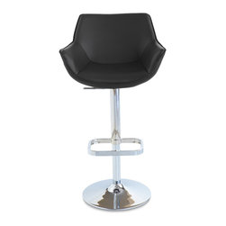 Zuri Furniture - Black Pinot Swivel Armless Bar Stool - The Pinot bar stool is a very elegant piece with its' high back and arm rests. It will cradle to your shape for hours of comfort.