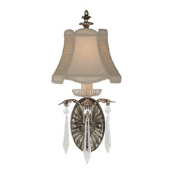 Fine Art Lamps - Winter Palace Sconce, 327650ST - Inspired by snowflakes and icicles and crafted to fill your favorite space with light. This charming wall sconce features an antiqued silver finish, brilliant crystal drops and a hand-tailored silk shade.
