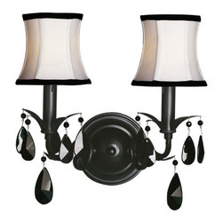 Woodbridge Lighting - Woodbridge Lighting Avigneau 2-light Black Wall Sconce - This sophisticated black wall sconce will look great in any bedroom or living area around the home. The white linen shades and black dangling gemstones are sure to impress. This hangs on the wall and will add style and lighting to any space.