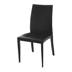 Eurostyle - Eurostyle Dafney Leather Side Chair w/ Steel Frame in Black [Set of 2] - With back  seat  and legs all completely covered in black leather  the Dafney Leather Side Dining Chair - Black - Set of 2 provides simple  casual elegance for your dining area. Built on sturdy  durable steel frames  these chairs will provide a lifetime of comfortable seating. No assembly required -- these dining chairs are ready to use right out of the box.