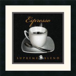 Amanti Art - Espresso Framed Print by L. Sala - Sweeten your decor with a stylized, steaming cup of espresso. Terrific for the kitchen, bistro or study, this tantalizing art print is a must-have for espresso lovers!
