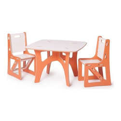 Sprout - Kids Table & 2 Chairs, Orange & White - The Sprout Kids Table and Chairs are perfect for drawing, play, or projects. They are made just the right size so you won't have to worry about potential falls, securing a booster seat, or helping your little ones climb up and down. The surface is durable and stain resistant so any spills will clean up easily. Patent pending Tension Lock Technology uses the natural properties of wood to create a sturdy durable joint that can be assembled and disassembled repeatedly.