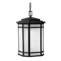 Hinkley - Hinkley 1272VK Cherry Creek Collection 1 Light Outdoor Pendant in Vintage Black - Lighting is the final touch in decorating your surroundings. With Hinkley Lighting, you'll find the perfect reflection of you. You are looking at a craftsman mission hanger outdoor from the cherry creek family.ADA Compliant: No Bulb Type: Medium Certification: C-ETL-US Damp Chain: 60 Collection: Cherry Creek Energy Star Compliant: No Finish: Vintage Black Glass: White Linen Height: 20-3 4 Leadwire: 72 Number of lights: 1 Socket 1 Base: MEDIUM Socket 1 Max Wattage: 100 Title 24 Compliant: No Type: Outdoor Pendant Voltage: 120 Wattage: 100 Weight: 13 Width: 12