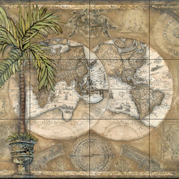The Tile Mural Store (USA) - Tile Mural - Terra Graphic I - Kitchen Backsplash Ideas - This beautiful artwork by Charlene Olson has been digitally reproduced for tiles and depicts a dual map with a palm tree in foreground.  Tile murals of maps are timeless and are excellent to add to your kitchen backsplash tile project or your tub and shower surround bathroom tile project. Images of maps on tiles add a unique element to your tiling project and are a great kitchen backsplash idea. Use a map tile mural for a wall tile project in any room in your home where you want to add interest to a plain field of wall tile.