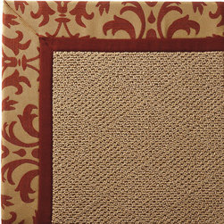 Frontgate - Outdoor Parkdale Rug in Sunbrella Softly Elegant Red Cane Wicker - 5' x 8' - Wicker-textured base is woven in soft and durable olefin. Choose from 2 base colors on some borders; Cane Wicker or White Wicker. Cleans with soap and water. Sunbrella® fabric is resistant to fading, staining, and mildew. Rug pad recommended (sold separately). Our Parkdale Rug with colorful borders matches the premium all-weather fabrics featured on our replacement cushions, pillows, draperies, and umbrellas. This all-weather rug will work just as beautifully indoors as it does outside. . . . Sunbrella fabric is resistant to fading, staining, and mildew. . Made in the USA.