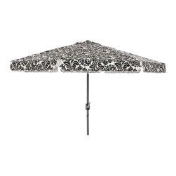 Pillow Perfect - Pillow Perfect Black/ White Damask 9-foot Patio Umbrella - Pillow Perfect 9-foot Damask Patio Umbrella