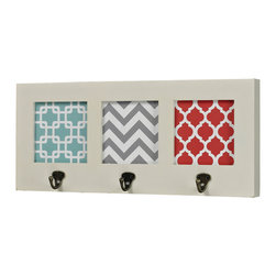 Sterling Industries - Chevron Hook in Off White with Chevron Print - Chevron Hook in Off white with chevron print by Sterling Industries