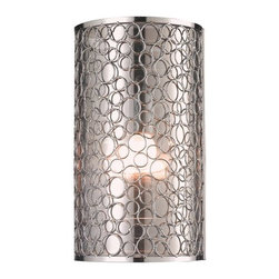 Z-Lite - Z-Lite 185-1S Saatchi 1 Light Wall Sconce - With a definite retro influence contrasting with a contemporary execution, this 1 Light wall sconce truly makes a remarkable statement. This mirrored inner shade is surrounded by a very modernly textured outer shade, and the fixture is finished in brush nickel.Specifications: