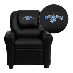 "Flash Furniture - Blinn College Buccaneers Embroidered Black Vinyl Kids Recliner - Get young kids in the college spirit with this embroidered college recliner. Kids will now be able to enjoy the comfort that adults experience with a comfortable recliner that was made just for them! This chair features a strong wood frame with soft foam and then enveloped in durable vinyl upholstery for your active child. This petite sized recliner is highlighted with a cup holder in the arm to rest their drink during their favorite show or while reading a book.; Blinn College Embroidered Kids Recliner; Embroidered Applique on Oversized Headrest; Overstuffed Padding for Comfort; Durable Black Vinyl Upholstery; Easy to Clean Upholstery with Damp Cloth; Cup Holder in armrest; Solid Hardwood Frame; Raised Black Plastic Feet; Intended use for Children Ages 3-9; 90 lb. Weight Limit; Meets or Exceeds CA117 Fire Resistance Standards; Safety Feature: Will not recline unless child is in seated position and pulls ottoman 1"" out and then reclines; Assembly Required: Yes; Country of Origin: China; Warranty: 2 Years; Weight: 17.5 lbs.; Dimensions: 27""H x 24""W x 21.5 - 36.5""D"