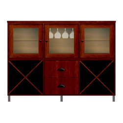 Howard Miller Custom - Molly Cabinet w 3 Doors in Newport Cherry - This cabinet is finished in Newport Cherry on select Hardwoods and Veneers, with Antique Bronze hardware. 3 doors with ribbed Glass. 2 cross storage shelves and 1 stemware rack. 2 flat panel drawers. 2 adjustable interior shelves. Flat profile top and metal leg base. Hardware: knobs on doors and cup pulls on drawers. Features soft-close doors, metal drawer glides and metal shelf clips. Simple assembly required. 70 1/2 in. W x 15 3/4 in. D x 53 in. H