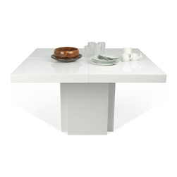 """Temahome - Dusk 51"""" Dining Table, High Gloss White - A table for everyday use, the Dusk tables has a central stand instead of the traditional four legs, offering additional space for extra guests. Available in the chocolate finish, this piece will go wonderfully with many get-togethers at home."""