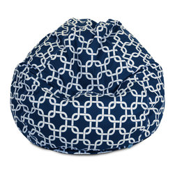 Majestic Home - Outdoor Navy Blue Links Small Bean Bag - Beanbags are the ultimate kid-friendly chairs: You can toss them anywhere, let them get kicked around and squished up, and you don't have to worry if this one gets left outside overnight. This small, snazzy beanbag is just the right size for your kid to plop in front of a movie or out by the pool, and its fun patterned slipcover is safe for outdoors and removable for easy cleaning.
