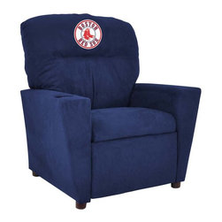 Imperial International - Boston Red Sox MLB Tween Recliner - Check out this awesome Tween Recliner. It's the perfect size for those Tween years. Now the whole family can join in and watch the game in their favorite chair! It has a great contemporary design with team color microfiber all over, and a cup holder. The team logo is embroidered and sewn on the headrest. It's perfect for your Man Cave, Game Room, Garage or Basement.