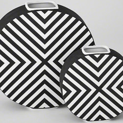 Global Views - Global Views Chevron Vase-Matte Black & White - Our love affair with chevron stems from the graphic patterns found in the 50s. A must-have design element, we translated the timeless chevron into striking accessories. After all, no room is complete without a moment of classic design.