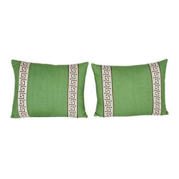 Used Green Greek Key Pillows - A Pair - A sweet pair of custom kelly green linen accent pillows with brown and ivory Greek key trim on fronts. The perfect splash of bright color for your bed or living room.