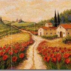 "Artwork On Tile - Ceramic Tile Mural Backsplash Morris Tuscan Landscape Art 24"" x 18"" - JM078 - * 24"" w x 18"" h x .25"" Ceramic Tile Mural on Architectural Grade, 6"" Tile w/Satin Finish"