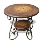 Tuscany Wrought Iron Scroll Table, Rustic Brown with Scrolls - Tuscany Wrought Iron Scroll Table, Rustic Brown with Scrolls