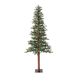 """Vickerman - Frosted Alpine Berry Cone 577T (6' x 34"""") - 6' x 34"""" Frosted Alpine Tree with Natural Wood Trunk. Berries and Real Pine Cones with  577 PVC Tips and Metal Stand"""