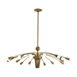 Valdez 16L Vintage Brass Adjustable Arm Chandelier - A firework of antiqued brass oxide tones illuminates your largest room in the detailed transitional style created through the Valdez Adjustable Arm Chandelier.  At the ends of sixteen long, slender arches, lights bud and glow in the silken simplicity of this large-scale chandelier.  A fusion of the gilt and amber of Art Deco with the clean, open lines of mid-century aesthetics, this light fixture is an ideal complement to your transitional space.